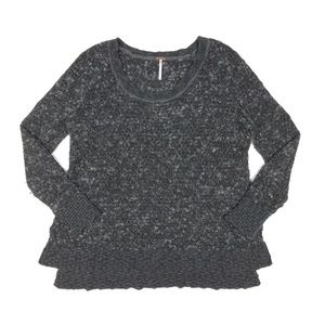 Free People Fuzzy Pullover Sweater Sz Small Black